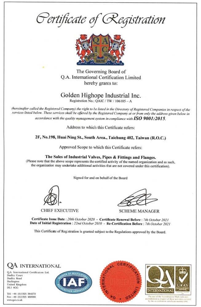 ISO-9001:2015 Certification of Golden Highope Industrial